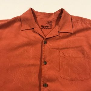 TOMMY BAHAMA Mens Medium Orange Silk Shirt